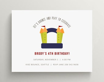 bounce house kids birthday invitation set  //  bounce party // bouncy house // playground // bounce house party // thank you note // simple