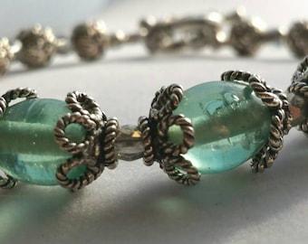 Beaded bracelet, beaded jewelry, glass beaded bracelet, green and sterling silver bracelet