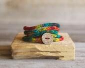Rustic I Cord Wrap Bracelet - Wrap Bracelet - Hippie Bracelet - Friendship Bracelet - Bohemian Jewelry - Gray - Gift for her - Wool