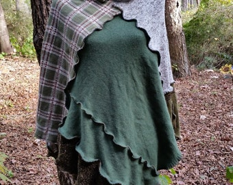 Recycled sweater, patchwork  Poncho