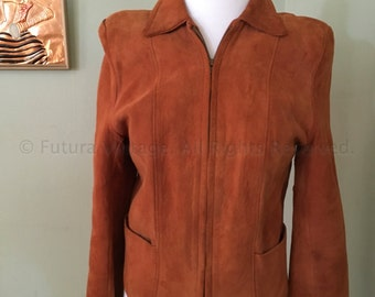 1950s Super Soft Womens Brown Suede Leather Jacket with Zipper Front and Two Front Pockets-XS S