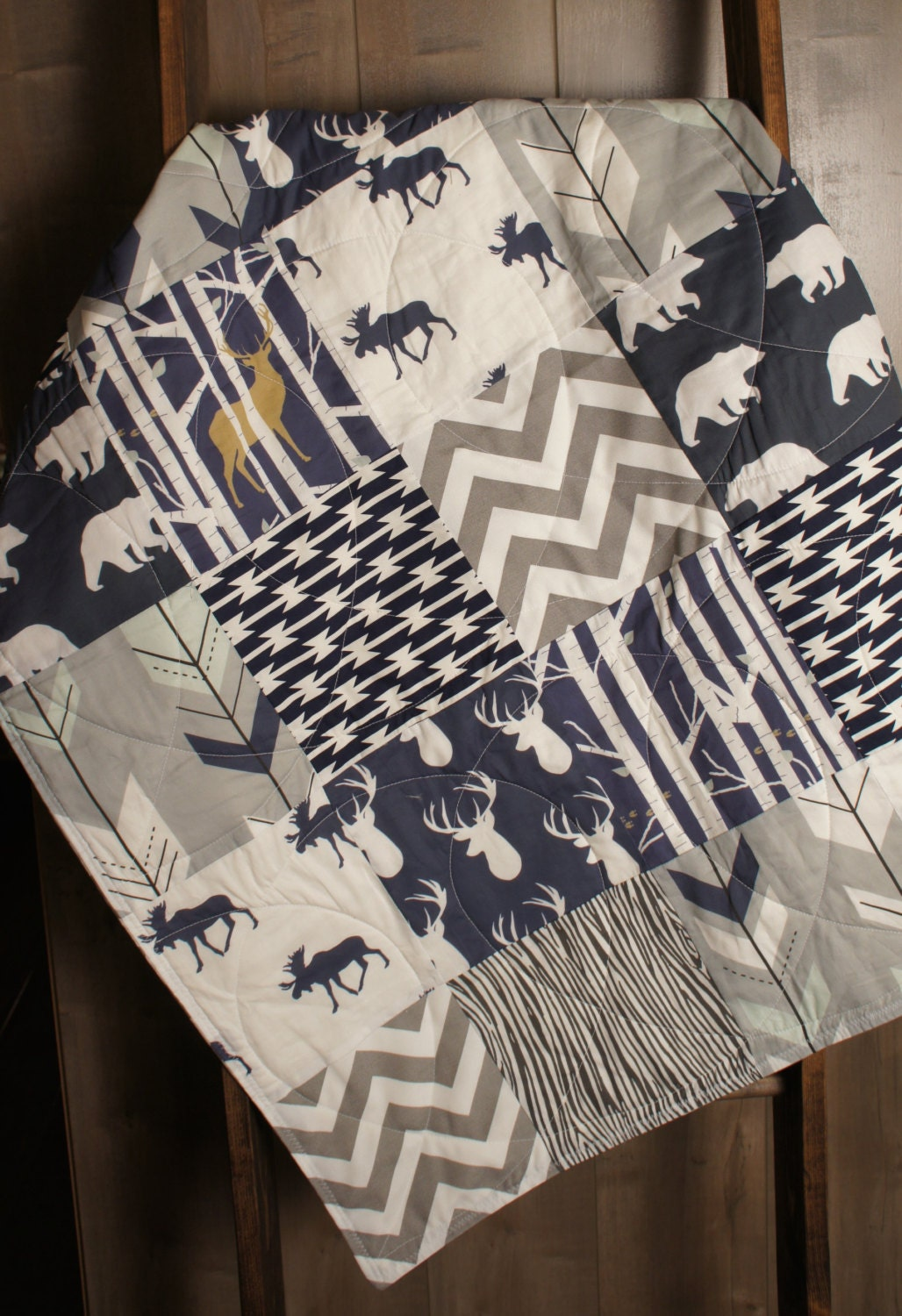 Baby Boy Hunting Quilt Baby Quilt Woodland Deer Moose