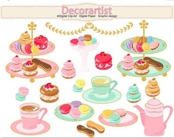 ON SALE tea set clipart, afternnon tea clipart, French tea party clipart , tea party , macaron clipart, INSTANT Download