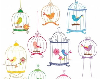 ON SALE instant download Digital clip art birdcage, bird clip arts, 9 birds and birdcages, invitations, card making