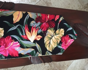 Table Runner, Piano Scarf, Black,Red,Green,Palm Fronds,Bark Cloth,Hawaiian,Reversible,Two Sides, Ready to Ship, Made in Hawaii,Handmade