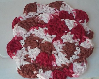 Coaster, Cozy, Mug Rug, Autumn Red, Brown and White