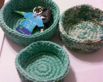 Nesting Bowls, Crochet bowls, Storage, Sage Green