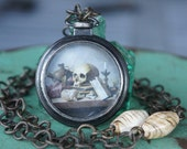 Memento Mori Vanitas Necklace with Skull Print and Bone Beads in Watch Case and Grungy Chain - The Bone Peddlar