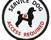 SERVICE DOG Poodle ADA Access Required Medical Alert Black Rim Sew-on Patch (Choose Size)