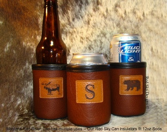 Mens Gift-Beer Holder-Bison Leather Can Insulator-Wildlife/Single Initial/Name -Cowhide Coolie-Moose-Elk-Deer-Trout-Bear-Bison-Horse-Montana
