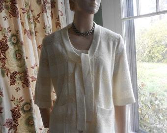 White Sweater Set - Sleeveless Shell and 3/4 Sleeve Open Sweater - Size M