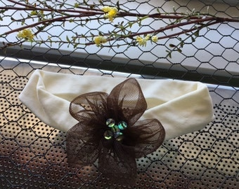 Ivory Stretchy Nylon Headband with Brown Netted Flower