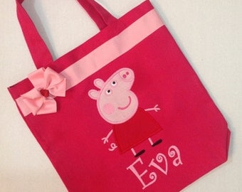 Personalized Tote Bag, Personalized Tote, Peppa Pig Tote Bag, Peppa Pig Tote, Peppa Pig Gift, Personalized Peppa Pig, Pig gift, Pink Pig