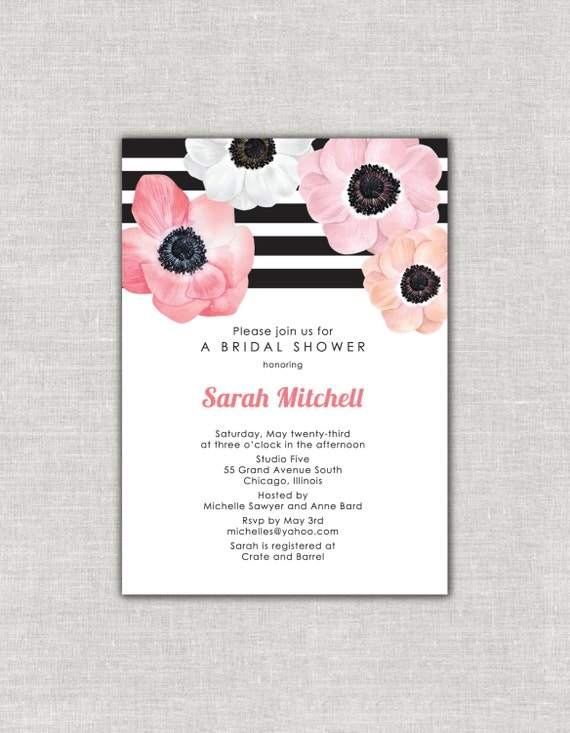 Romantic bridal shower invitation anemone flower pink and coral il570xn filmwisefo Choice Image
