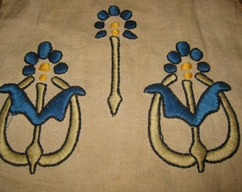 Wonderful Antique Embroidered Linen Drawstring Bag, Arts and Crafts