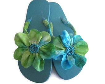 Lime Green Turquoise Floral Decorated Flip Flops