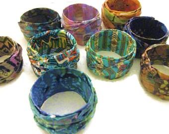 Fabric Bangle, Bracelet, Cuff, Bohemian Style