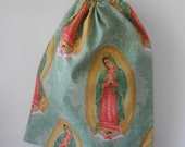 Medium Our Lady Of Guadalupe Drawstring Bag, Craft Bag, Book Bag, Shoe Bag, Gift Bag
