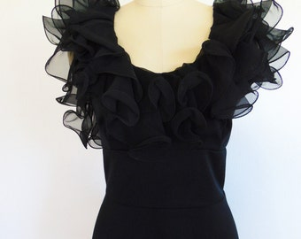 70s ZSA ZSA evening gown with black ruffles size large