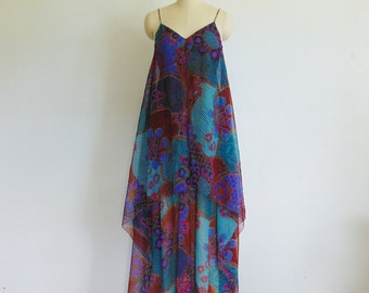 1970s flowy maxi GOWN evening dress size small