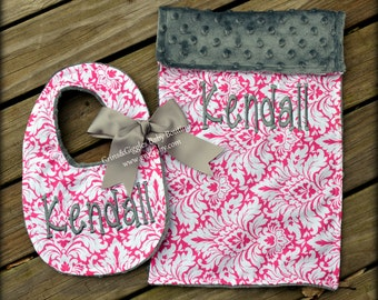 Damask Baby Girl Bib,Burp Cloth,Personalized,Hot Pink,White,Charcoal Minky,Baby,Feeding,Adjustable,Fits Newborn to Toddler,Baby Shower Gift