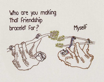 "8""x10"" Print Friendship Sloth Embroidery"