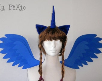 Princess Luna Set (Alicorn Wings, Ears, Horn) My Little Pony Halloween Costume, Kids and Adult Brony Cons Cosplay Accessories