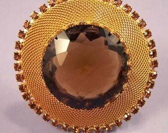 Amber Crystal Brooch / Amber and Mesh Brooch / Mid Century Amber Brooch / Large Amber Brooch / Amber Rhinestone Brooch