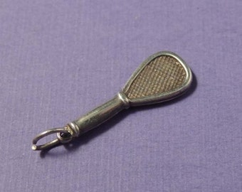 STERLING Racquet Ball Charm / Sterling Silver Racquet Ball Charm / Silver Racquet Ball Charm Charm / Racquetball Charm / Racket Ball Charm