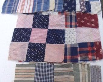 Lot of Vintage 9 Patch Quilt Blocks / 22 Total / Large Quilt Blocks