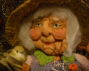 One of a kind original Bird lady art doll