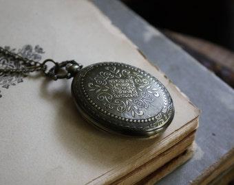 Pocket Watch Necklace  - Alice in Wonderland - Halloween