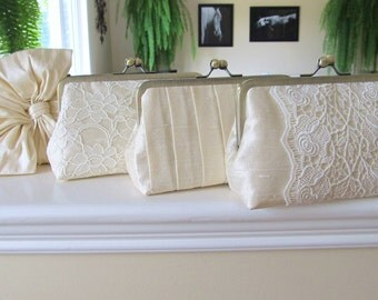 SALE, 15% OFF Mis Matched Bridesmaid Clutches In Cream Silk Dupioni,Bridal Accessories,Wedding Clutch,Bridesmaid gift,Personalized Clutches