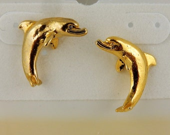 Vintage Gold Plated or Pewter Dolphin Post earrings
