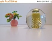 "HAPPY HOLIDAYS SALE Vintage Blenko Glass 68B in Wheat Color ""Air Twist"" Paperweight with original tag"