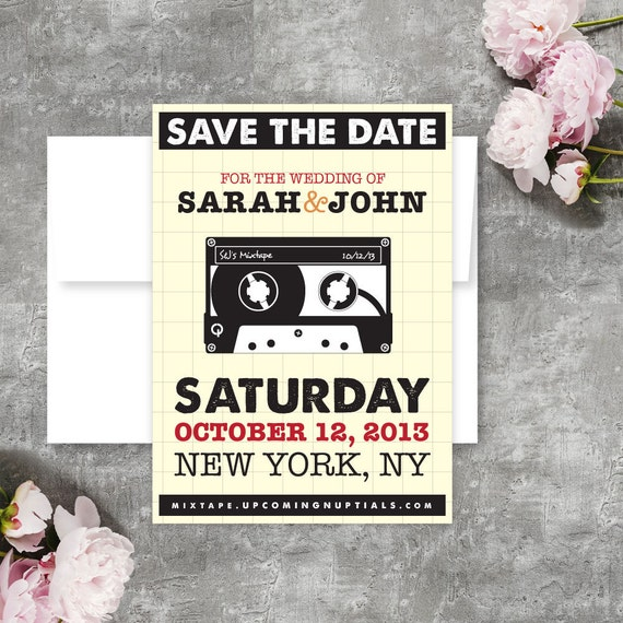 Love Mixtape, Concert Poster, Save The Date Post Card - Printable PDF or Customized Printed Save The Date Card