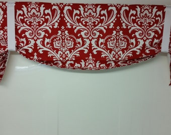 Tie up valance, balloon valance ozborne damask red white or choose color