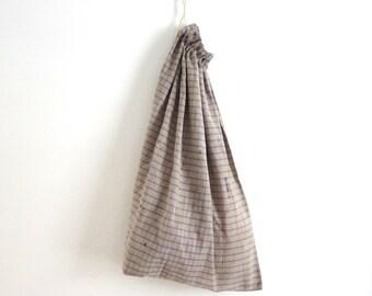 Vintage lingerie bag pastel lingerie bag Hanging lingerie bag Laundry bag Drawstring bag Fabric storage bag Checked cotton drawstring bag