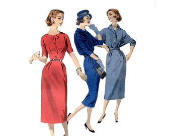 1950s Day Dress and Jacket Pattern Bomber Jacket Wing Dolman Sleeves Sheath Dress Front Button Butterick 8277 Bust 34 Vintage Sewing Pattern