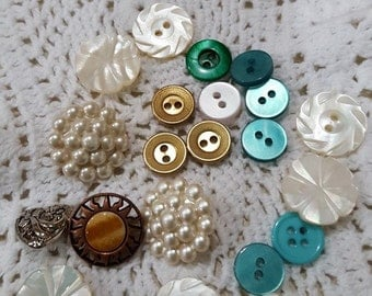 White, green, teal, copper, gold buttons # 13