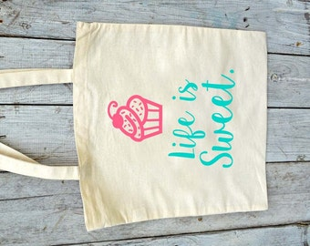Eco-Friendly Life Is Sweet Cupcake Reusable Canvas Tote Bag