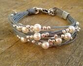 bracelet for woman pearl bracelet grey corf bracelet beaded jewelry women bracelet gift for her