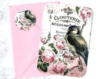 Flat Note Cards, Bird Lover, Blue Bird, Note Cards Set, Bird & Roses, Stickers