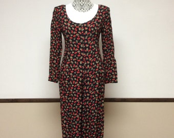 Vintage Women's Jumpsuit - Black and Red Cherry Jumpsuit by Laundry Size 6, Rockabilly, Retro