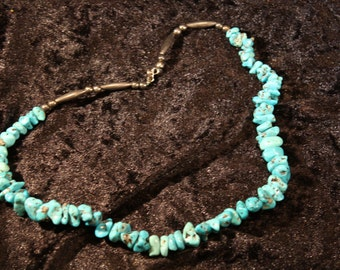 Vintage Turquoise Nugget Necklace with Sterling Beads