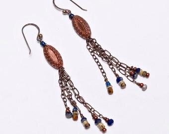 Bohemian Vintage, Dangle, Cobalt Glass, Fringe, Boho, Casual Long Earrings