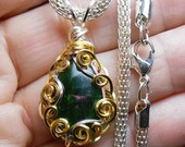 Chrome diopside 2-sided drop cabochon pendant,  hand wrapped, silver and gold tone  filigree setting