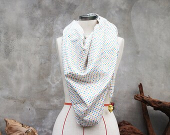 Candy polka dot cotton weighted scarf with large yellow howlite skull charm