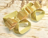 Gold Glitter Barefoot Sandals, Shiny Bows Baby Stretchy Summer Shoes, Over the Top First 1st Birthday Outfit Photo Prop Newborn Girl