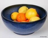 Cobalt Blue Stoneware Farmhouse Bowl, Wheel Thrown by Hurricane Pottery